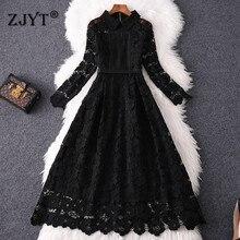 Дизайнерское подиумное платье, осенняя одежда, женская мода, длинный рукав, полое, сексуальное, черное, водорастворимое, кружевное платье, вечерние, 2XL-5XL