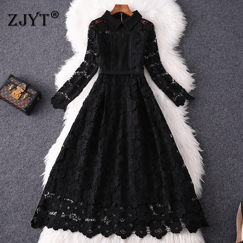 2020 Designer Runway Dress Autumn Clothes Women Fashion Long Sleeve Hollow Out Sexy Black Water Soluble Lace Dress Party 2XL-5XL