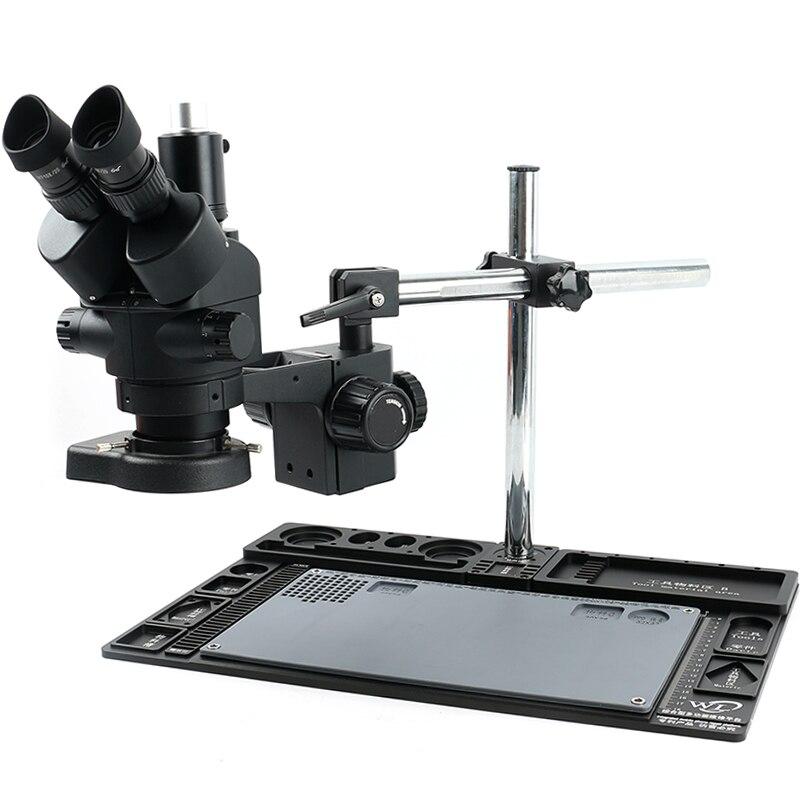 Microscope stéréo trinoculaire noir simul-focal 3.5-90X objectif Zoom Barlow 144 lampe à LED etabli de Maintenance