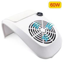60W Nail Dust Suction Collector Large Size Strong Nail Vacuum Cleaner Machine with UV LED Lamp Nail Tool With 3 bags Salon Tool large nail art dust suction collector nails duster vacuum cleaner machine with glazing drill tool kit