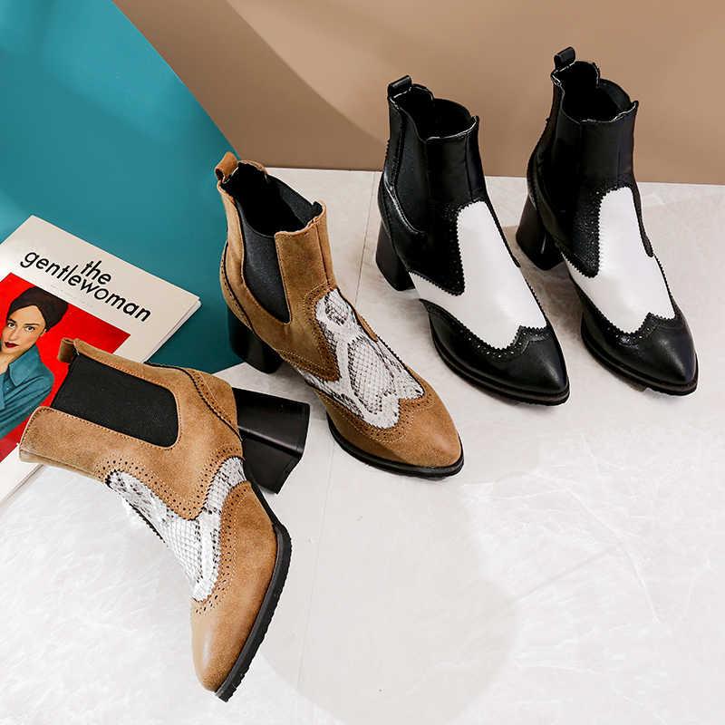 WETKISS Kaymaz Yılan Derisi Çizme Sivri Burun Kalın Topuk Ayakkabı Elastik Bant Platformu Bayan Bootie Moda Rahat Kadın Chelsea Çizme