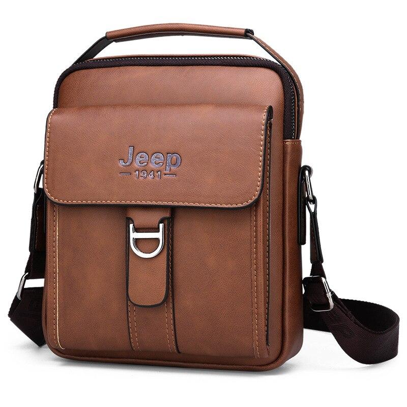Luxury Brand JEEP Men Messenger Bags Leather Shoulder Bag Small Vintage Top-Handle Male Handbag Business Crossbody Bag For Men