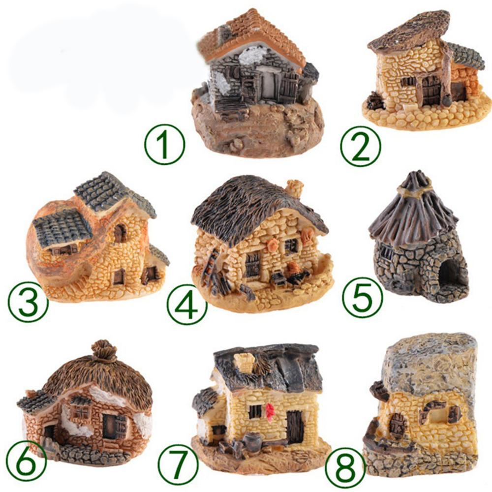 Small Mini Resin House Miniature Village Hut Cottage For Micro Landscaping Fairy Garden Bonsai Pot Decoration Garden Ornaments