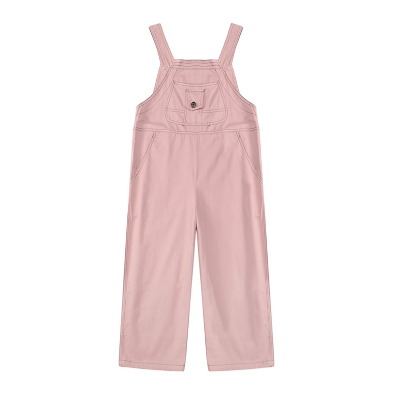 Korean Style Vintage Women Solid   Jumpsuit   Mori Cute Ankle Length Strap Pants Pink Overalls Simple Casual Girl Kawaii Romper