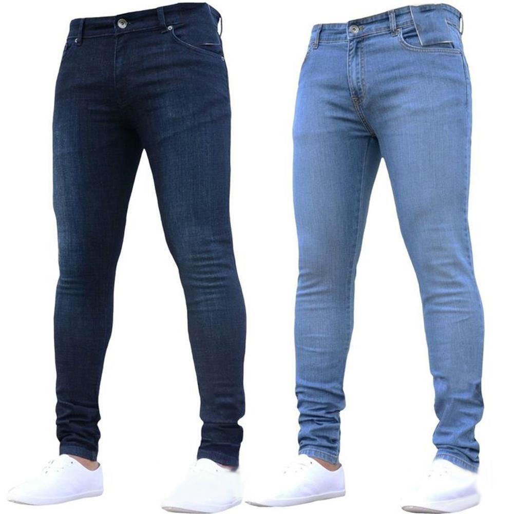 AU Mens Slim Skinny Straight Elastic Denim Pants Destroyed Ripped Jeans Trousers