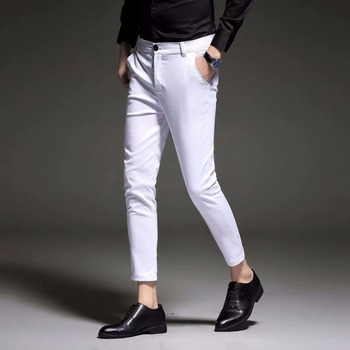 New 2020 Mens Slim Fit Business Dress Pants for Men Suit Ankle Length Summer Formal Trousers Black White Blue