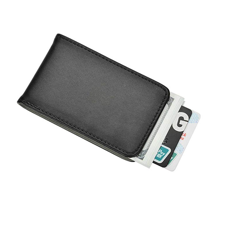 Top Grade Business PU Wallet Portable Magnet Wallet Magnetic Banknote Cheque Was
