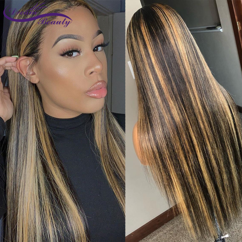 Straight Honey Blond Ombre Color Highlight 180% Lace Front Human Hair Wigs Remy Brazilian Pre Plucked Lace Wig Dream Beauty