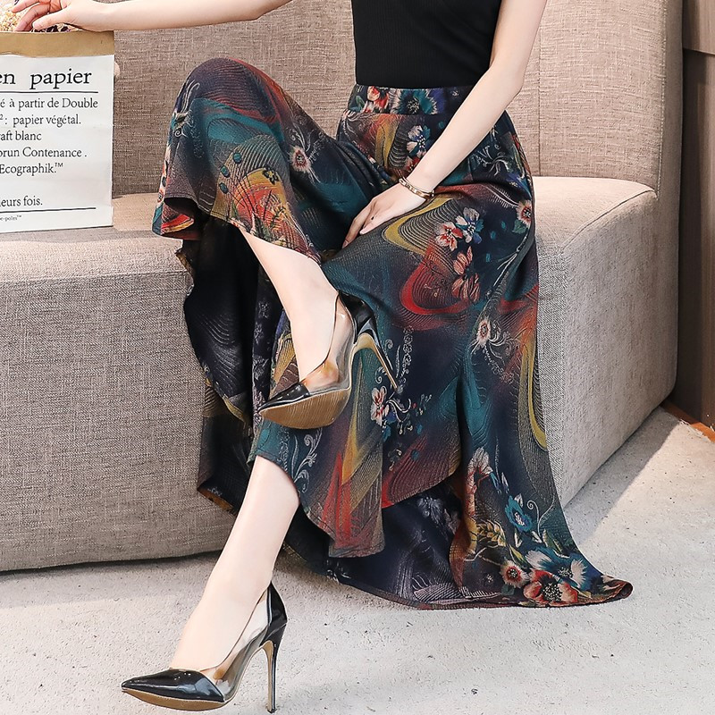 Summer Middle Aged Women Pants High Waist Large Size National Style Women's Wide Leg Pants Lady Cotton Silk Printed Skirt Pants