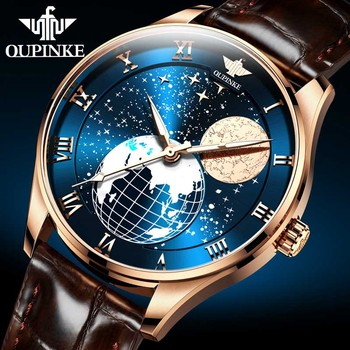 Moon Phase watch Men Mechanical wristwatches Automatic OUPINKE Classic Luxury Waterproof Sapphire watches Relogio Masculino relogio masculino sekaro moon phase mens watches top brand luxury gold men watch automatic mechanical leather wristwatches
