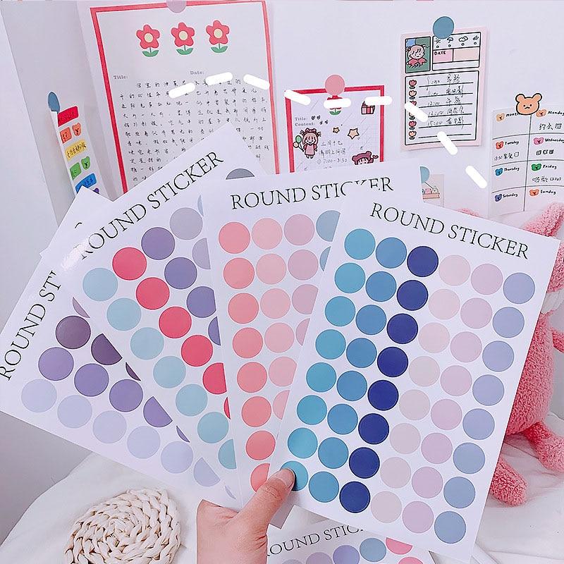 Kawaii Colorful Round Sticker Cute Dots Journal Sticker Decoration Label Seal Sticker Diary Scrapbooking Korea Stationery