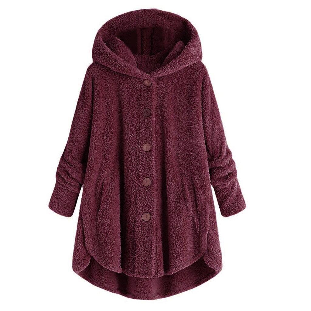 Plus Size Fluffy Coat Women Winter Warm Casual Fleece Jackets Loose Buttons Pure Red Hooded Teddy Coat Female Soft Cute Outwear