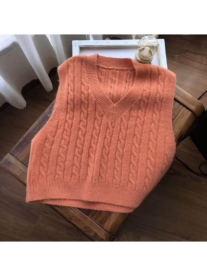 Осенний свитер Muyogrt, жилет, Женский однотонный вязаный жилет, студенческий пуловер в Корейском стиле с V-образным вырезом, Свободные Повседн...