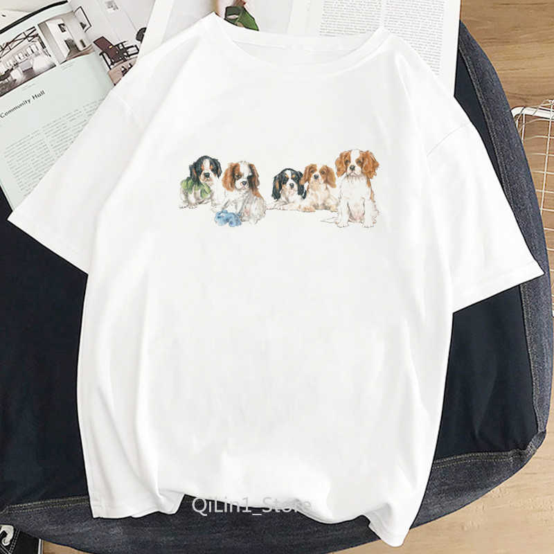Harajuku Kawaii Cavalierkingcharlesspanieldogprinted Tshirt Amici Amante Del Cane Delle Donne Tee Shirt Femme Bianco T Shirt
