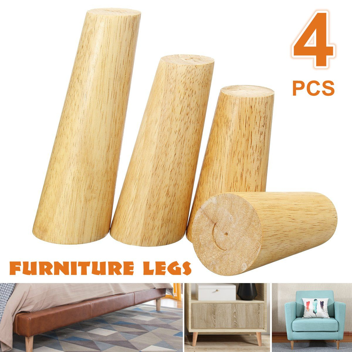 4pcs/lot Solid Wooden Oblique Angle Sofa Legs Feet Coffee Table Furniture Legs With Anti-skid Pad Iron Plate For Cabinets Tables