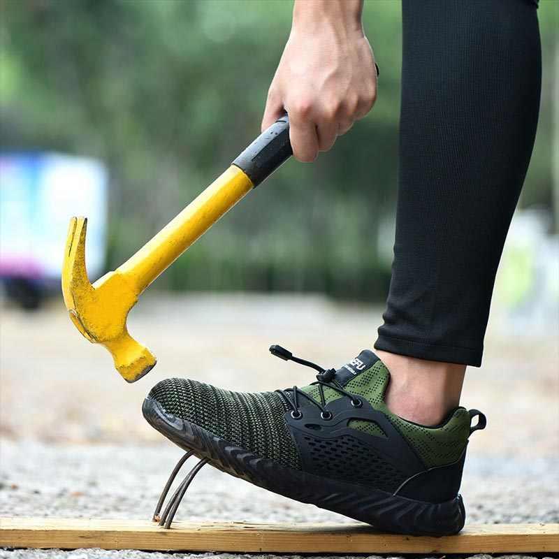 Jackshibo Veiligheid Schoenen Laarzen Voor Mannen Mannelijke Herfst Ademend Werkschoenen Stalen Neus Onverwoestbaar Veiligheid Werk Laarzen Sneakers