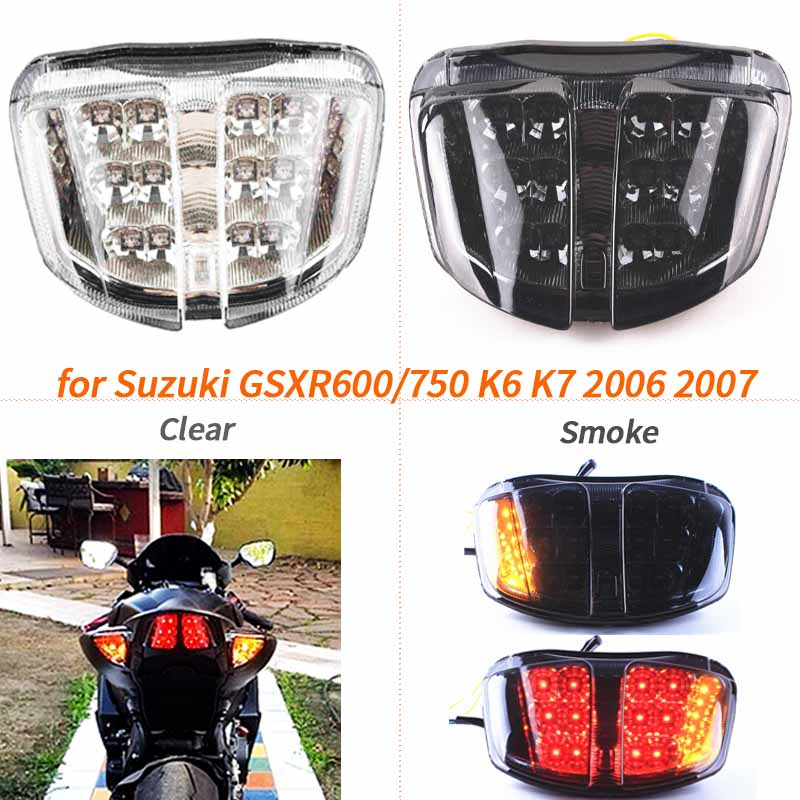 <font><b>LED</b></font> Turn Signals Tail Light Rear Brake Lamp for <font><b>Suzuki</b></font> GSXR600 GSXR750 <font><b>GSXR</b></font> 600 <font><b>750</b></font> K6 K7 2006 2007 Motorcycle Integrated Clear image