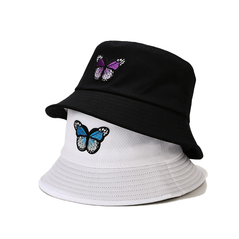 New Fashion Reversible Black White  Bucket Hats Fisherman Caps For Women Gorras Summer Butterfly Embroidery Outdoor Sun Hat