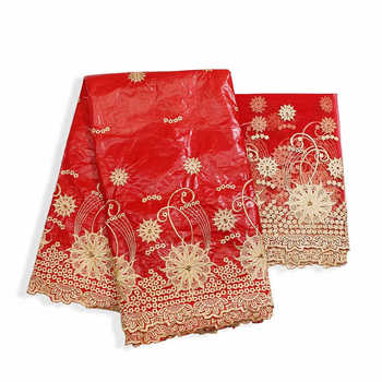 Factory offers Popular Gezner African Bazin riche lace with beads fabric with scarf for Woman Party Dresses 5+2Yds/pcs Red