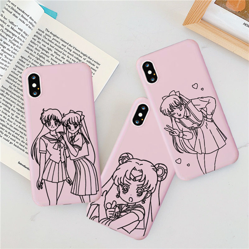 <font><b>Kawaii</b></font> Japan Sailor Moon Couple <font><b>Case</b></font> for <font><b>IPhone</b></font> 11 XR X Xs Max 8 <font><b>7</b></font> 6 Plus 6S Soft Silicone <font><b>Phone</b></font> Cover Japanese Anime Girl Capa image