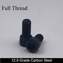 M2 M2 * 9/10/12/14 M2x9/10/12/14 12,9 Grade Schwarz Carbon Stahl voll Gewinde DIN912 Kappe Tasse Allen Kopf Bolzen Hex Hexagon Buchse Schraube