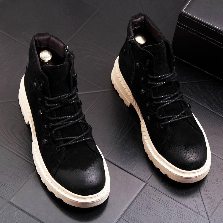 Estilo europeu dos homens preto botas casuais moda rebites foward porco camurça homem botas de tornozelo curto laço acima sapatos de segurança trabalho - 2