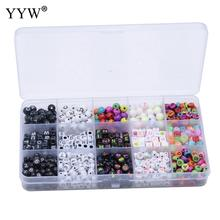 Letter Beads Mixed Acrylic Enamel For Diy Jewelry Making Sieraden Maken Charms Bracelets Wholesale Hole 1mm 800pcs/Box