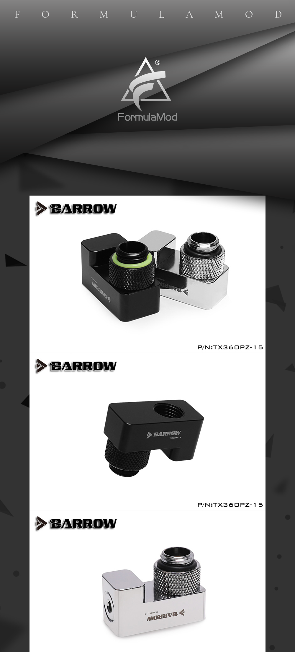 Barrow TX360PZ-15, 15mm 360 Degrees Rotary Offset Fittings , G1/4  15mm Male To Female Extender Fittings