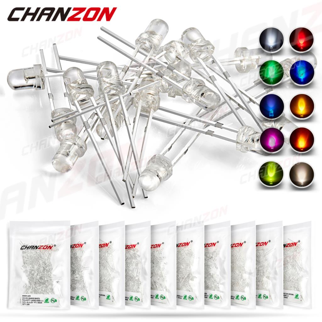 100 шт 3 мм светодиодный светильник на светодиодах комплект теплый белый, красный, голубой, зеленый, УФ/оранжевый/желтый/розовый цвет лампа на...
