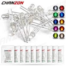 100 pces 3mm diodo emissor de luz led kit branco quente vermelho azul verde uv laranja amarelo cor rosa lâmpada conjunto 3v pcb variedade