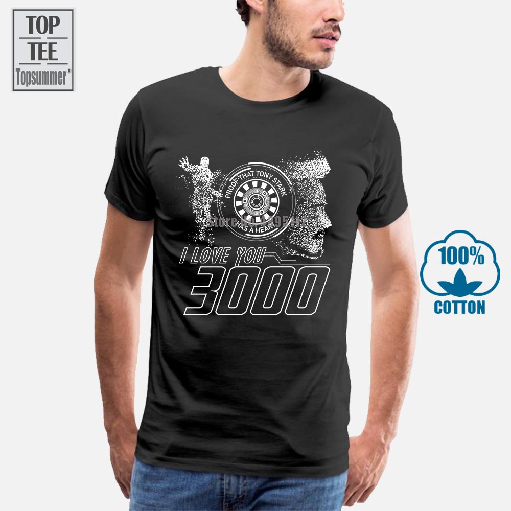 Summer Funny Print Men Tshirt <font><b>Women</b></font> Proof That <font><b>Tony</b></font> <font><b>Stark</b></font> Has A Heart I Love You 3000 <font><b>T</b></font> <font><b>Shirt</b></font> image