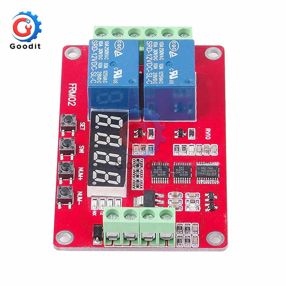 تيار مستمر 5 فولت/12 فولت/24 فولت 10A 2 قناة متعددة الوظائف وحدة التتابع دورة تأخير الموقت التبديل الذاتي قفل للبرمجة وحدة التتابع/ث LED