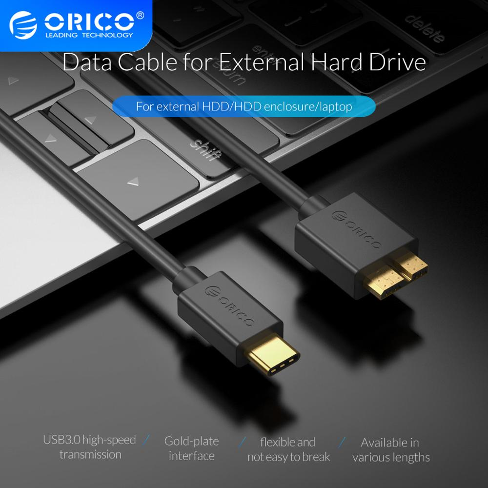 ORICO USB C to <font><b>Micro</b></font> <font><b>B</b></font> <font><b>Cable</b></font> Data Transfer <font><b>Cable</b></font> Charging <font><b>Cable</b></font> For External Hard Drive <font><b>USB3.0</b></font> HDD Case Laptop Type C Data Cabl image
