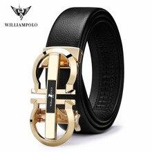 Cinto de couro genuíno dos homens de williampolo marca de luxo designer de alta qualidade cintos para homens cinta masculina metal fivela automática