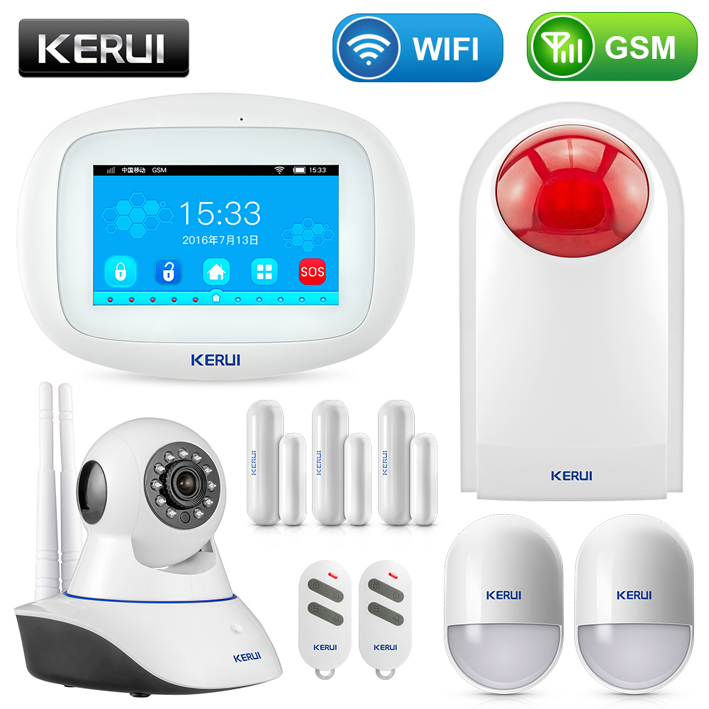 KERUI K52 Touch-screen Amazing Design 4.3 Inch TFT Color Display WIFI+ GSM Flat Table Alarm System Kit