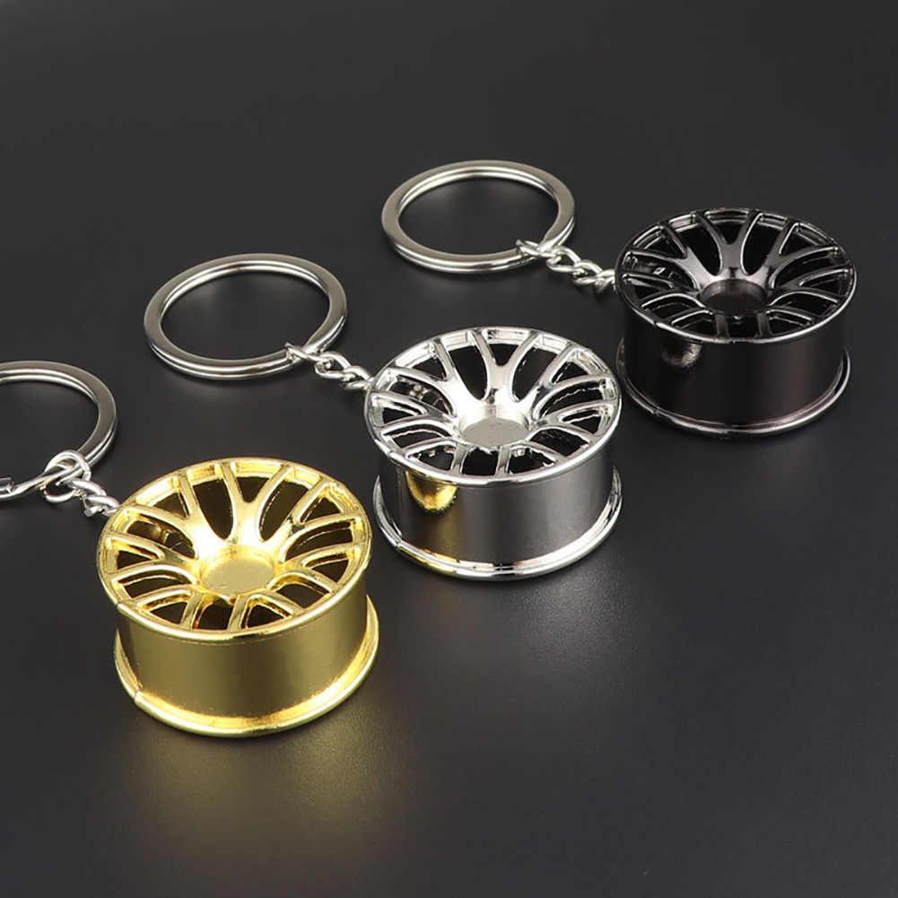 Criativo aro da roda do carro turbo metal pingente chaveiro pendurado decoração chaveiros de alta qualidade metal 3d carro hub chaveiro