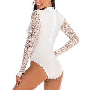 Image 3 - Riseado döküntü bekçi uzun kollu tek parça mayolar yüzme sörf takım elbise seksi örgü mayo kadın See Through Beachwear