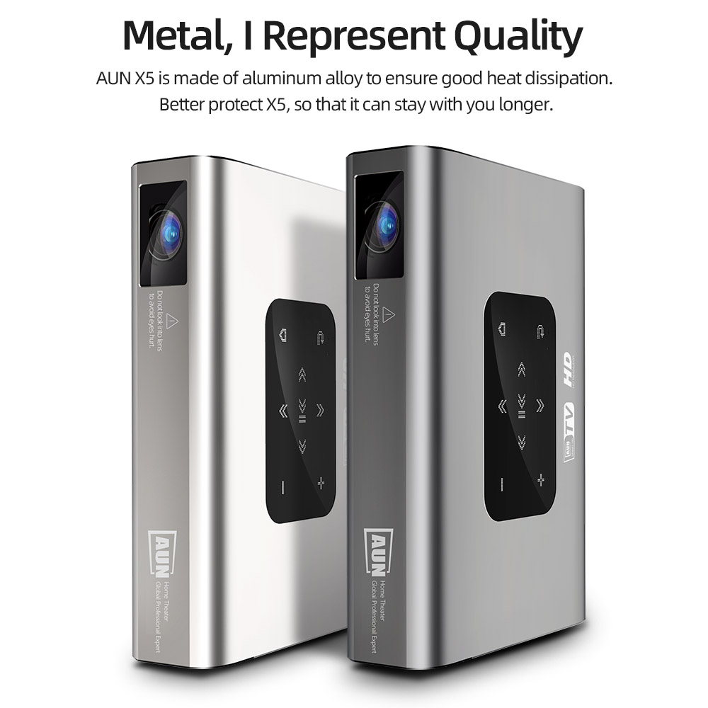 Aun projetor x5 4k android wifi 3d 10500mah bateria 300 polegada 1080p dlp mini portátil vedio projetor smart tv laser beamer hdmi-3