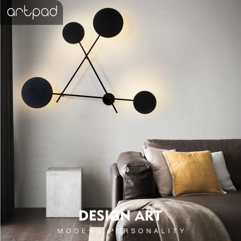 Artpad Modern Italy Metal Wall Lamp Lighting, Thicken Triangle Pole Bedroom Stair Cloth Shop Light On The Wall Lighting Fixture