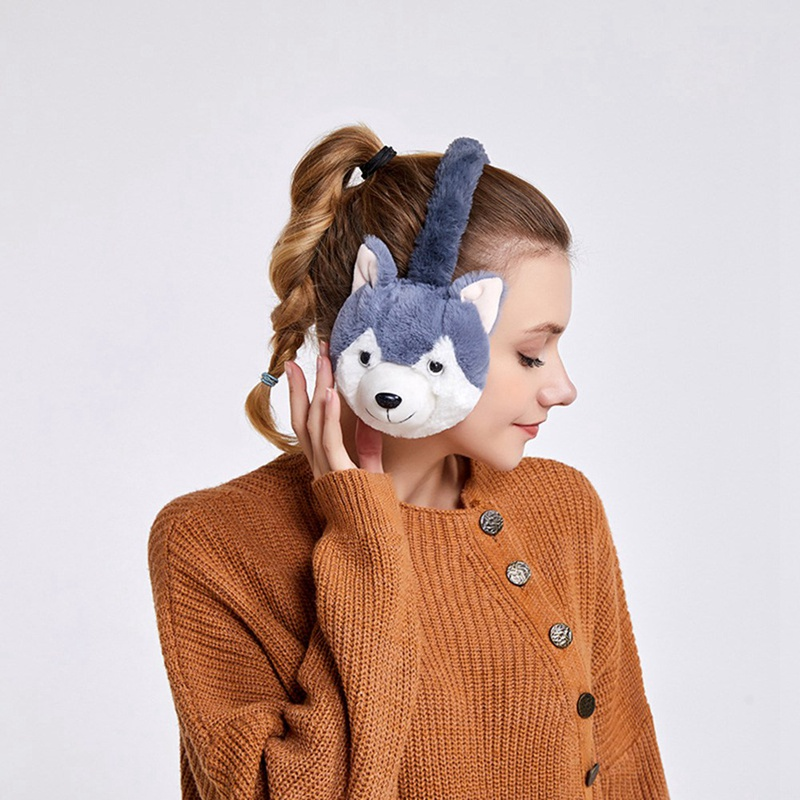 Kawaii Animal Fur Earmuffs 2020 New Arrivals Ear Warmer Dog Ear Muffs Winter Accessories For Women Plushed Cartoon Husky