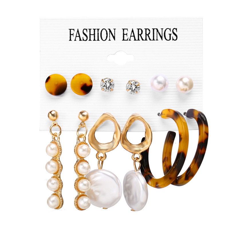 Ha30bf8dcd5fe4693960d2fc115eaff14z - IF ME Fashion Vintage Gold Pearl Round Circle Drop Earrings Set For Women Girl Large Acrylic Tortoise shell Dangle Ear Jewelry