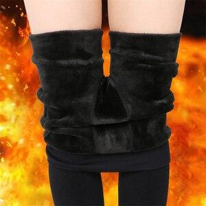 Image 3 - Женские теплые леггинсы NORMOV с высокой талией, эластичные плотные бархатные леггинсы, однотонные облегающие леггинсы для фитнеса, женские леггинсы