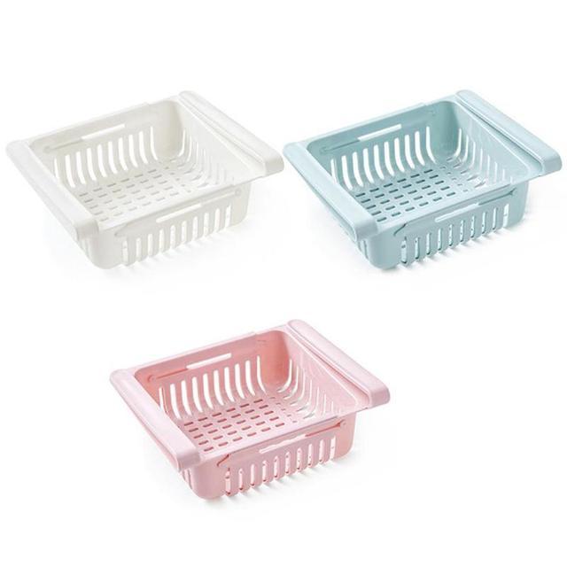 Étagère de rangement pour réfrigérateur | Organiseur de cuisine réglable, gain de place, support de rangement pour réfrigérateur, congélateur, étagère tiroir coulissant