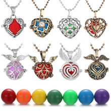 Aromatherapy Diffuser Necklace Mexico Chime Angel Ball Caller Locket Love Heart Necklace Retro Pregnancy Necklace Dropshipping mexico chime music bell angel ball caller locket necklace flower pregnancy necklace perfume aromatherapy essential oil necklace