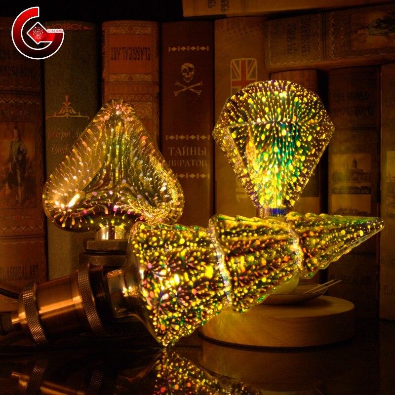 Dekoracja 3D żarówka LED E27 6W 85-265V stara żarówka edisona gwiazda fajerwerki lampa wakacje noc światło nowość choinka