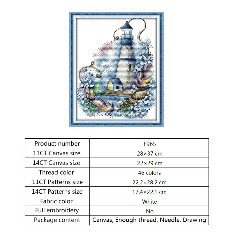 Count Cross Stitch Blue Lighthouse Aida Fabric for Embroidery Kit 14CT DMC Cotton Thread Printed Canvas Water-soluble Needlework (11)