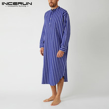 Mens Sleepwear Robes Nightgowns Homewear-Stand-Collar Leisure INCERUN Striped Pockets