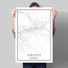 Bosnia-Herzegovina Black White World City Map Poster Nordic Living Room  Sarajevo Wall Art Pictures Home Decor Canvas Painting