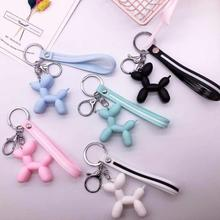 2019 New Anime Figure Dog Key Chain Hand Painted Bull Terrier Ring PVC Vinyl Animal Trinkets for Car Chains