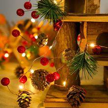 Outdoor Garland LED Christmas Lights Christmas Tree Decor New Years Christmas Ornaments Xmas Pine Cone Fairy Lights Navidad 2021